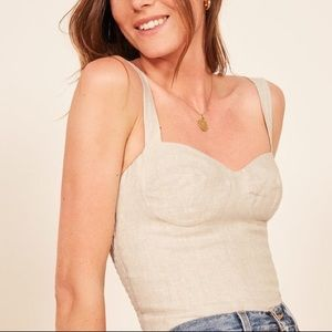 NWT Reformation Janie Linen Bustier Top